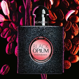 black opium bottle with coffee bean background